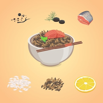 Rice  in bowl with fish and lemon