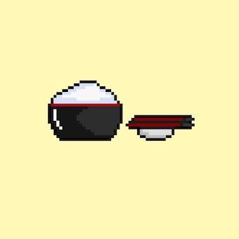Rice bowl with pixel art style
