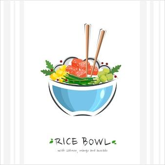 Rice bowl with tuna salmon mango and avocado illustration