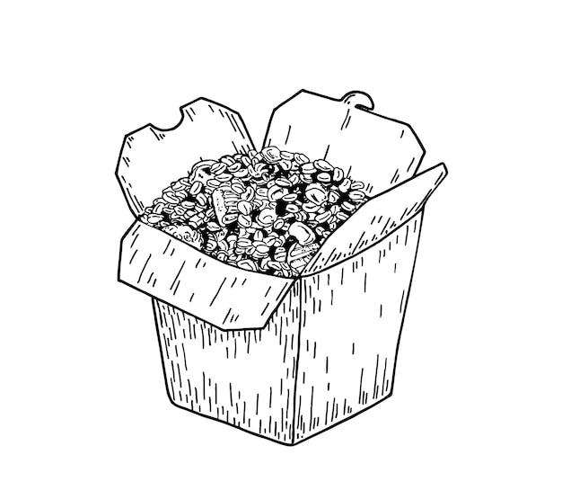 쌀 상자 스케치 쌀 상자 손으로 그리는 로고 냄비 쌀 중국 일본 요리 상자에 패스트 푸드