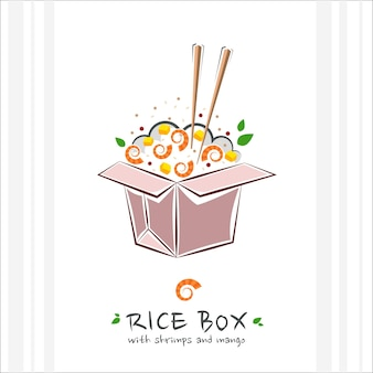 Rice box with shrimps and mango. healthy food . illustration with takeaway poke bowl. hawaiian food delivery