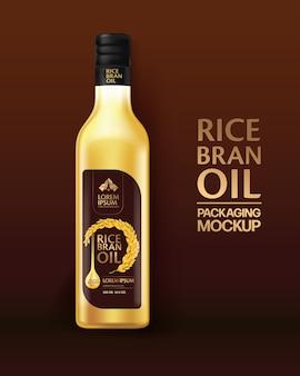 Rice bran oil  packaging design template