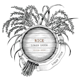 Rice concept logo hand draw vintage engraving style isolated on white background