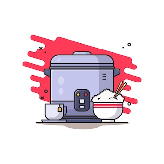 Rice cooker and rice bowl illustration