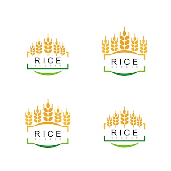 Rice emblem logo set