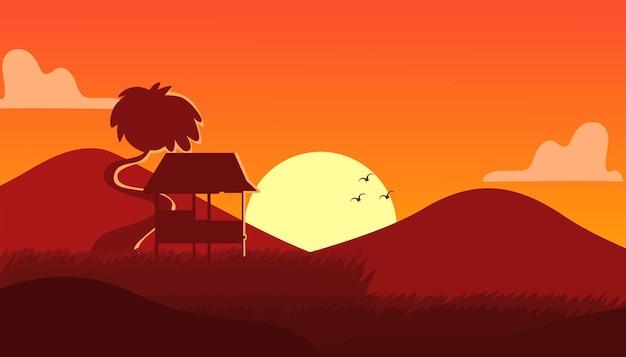多目的に適したシルエットスタイルのプレミアムベクトルと田んぼの風景