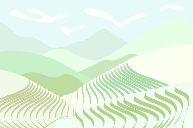 논 포스터. 산 풍경에 중국 농업 테라스입니다. 녹색 논이 있는 안개가 자욱한 시골 농지 풍경입니다. 계단식 농부 재배 농장입니다. 아시아 농업 가로 배경