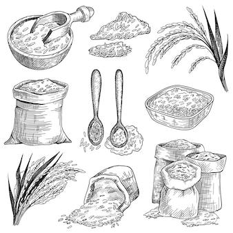 Insieme di abbozzo di chicchi di riso in sacchi e ciotole