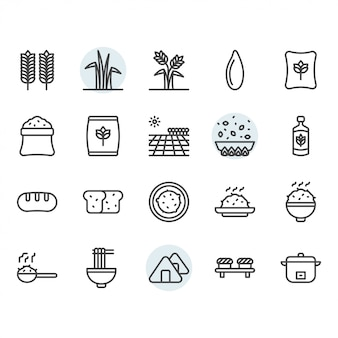 Rice icon and symbol set in outline