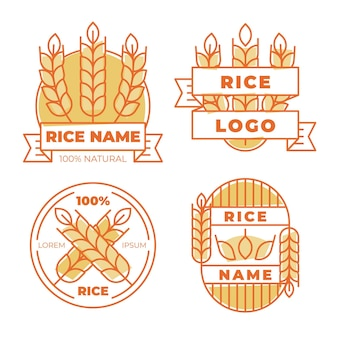 Набор шаблонов рисовых логотипов Premium векторы