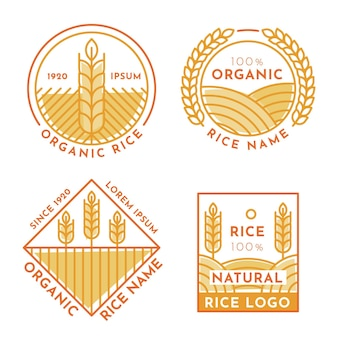 Набор шаблонов логотипа риса
