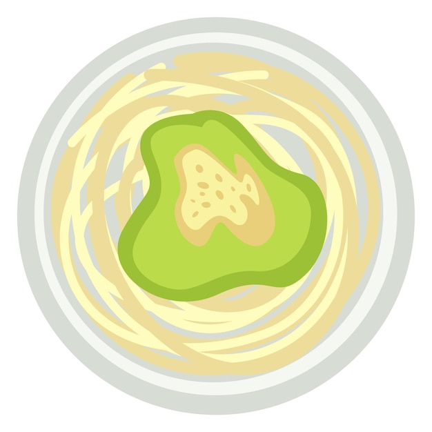 Rice noodles or spaghetti with avocado sauce or pesto. italian or asian cuisine. healthy eating, dieting and nutrition in restaurants and diners. breakfast and lunch outdoors. vector in flat style