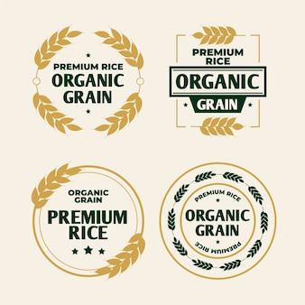 Rice organic grain logo template