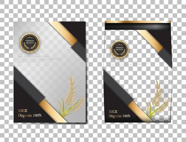 쌀 패키지 태국 식품, 블랙 골드 배너 및 포스터 템플릿 벡터 디자인 쌀.