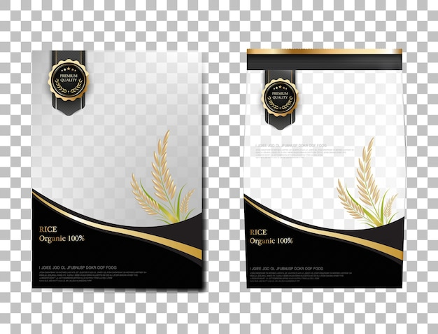 Rice package thailand food products, black gold banner and poster template vector design rice.