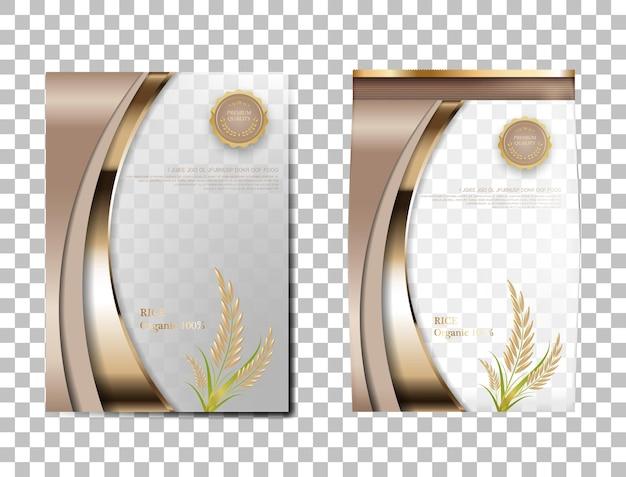 Рис пакет таиланд продовольственных товаров, коричневый золотой баннер и плакат шаблон вектор дизайн рис.