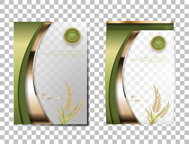 Rice package thailand food products, green gold banner and poster template vector design rice.