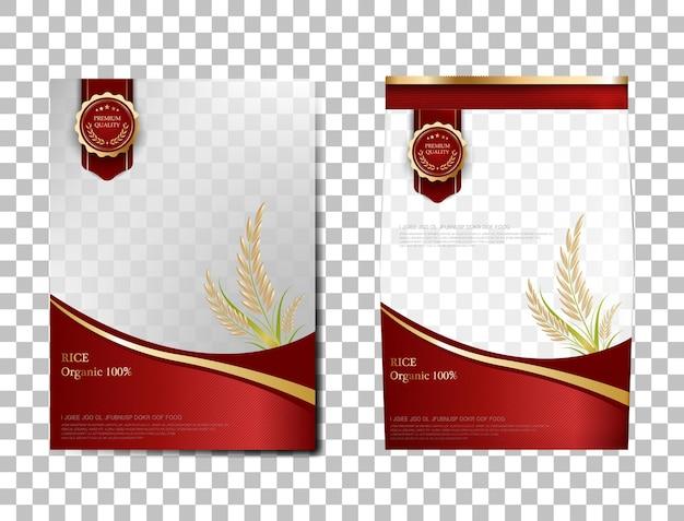 쌀 패키지 태국 식품, 레드 골드 배너 및 포스터 템플릿 벡터 디자인 쌀.