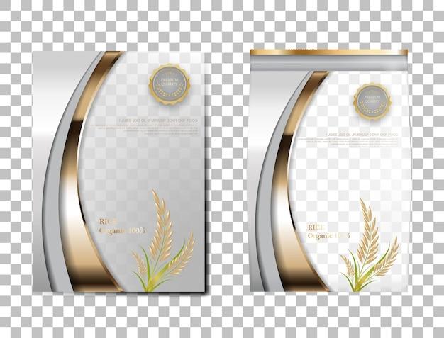 Рис пакет таиланд пищевых продуктов, белое золото баннер и плакат шаблон вектор дизайн рис.