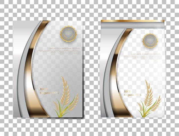 Rice package thailand food products, white gold banner and poster template vector design rice.
