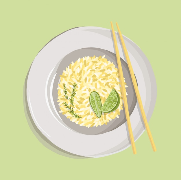 Rice pilaf with turmeric powder, rosemary, lime and chopsticks on white plate. realistic dish illustration