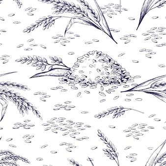 쌀 완벽 한 패턴입니다. 손으로 그린 식물과 곡물 질감, 식품 포장용 쌀 시리얼 스케치. 벡터 일러스트 레이 션 흑백 낙서 유기농 식품 배경
