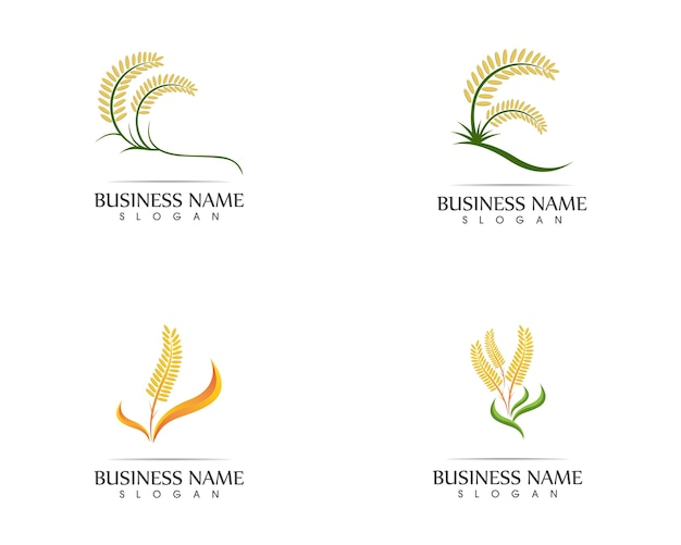 Rice wheat icon sign logo