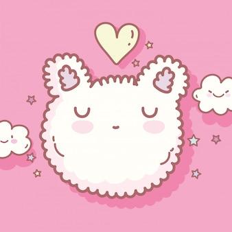 かわいい猫の顔の形の漫画の食べ物とご飯