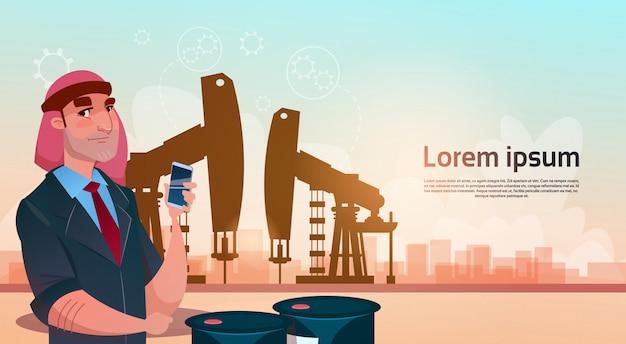 풍부한 아랍 사업가 석유 무역 pumpjack 장비 플랫폼 검은 부 개념