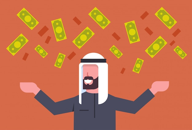 Rich arab business man throwing money up muslim businessman financial success concept