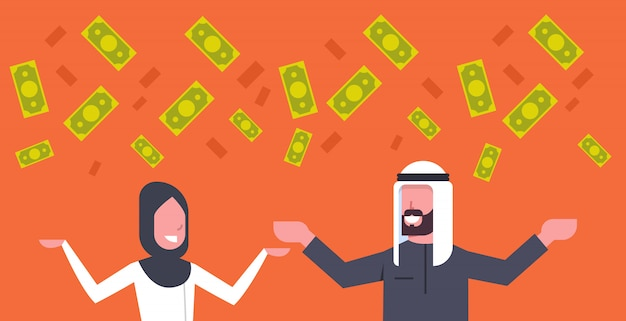 Rich arab couple business man and woman throwing money up muslim financial success concept