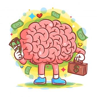 豊かな脳がイラストの大金スーツケースを運ぶ