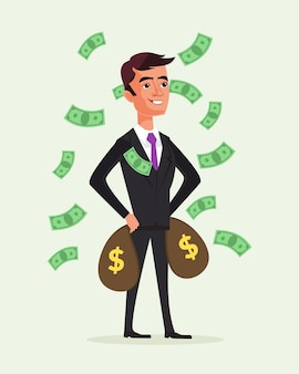 Rich businessman character hold money bags. financial success .