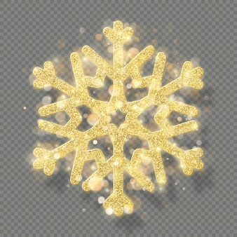 Rich christmas texture decoration with glitter golden bokeh. shine snowflake isolated on transparent background.