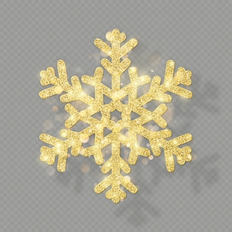 Rich christmas texture decoration with glitter golden bokeh. shine snowflake  on transparent background.