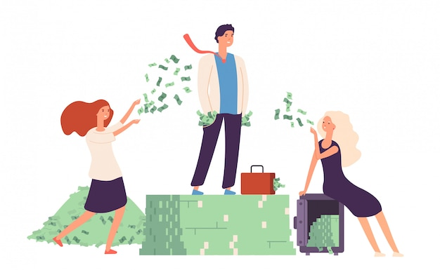 豊富なコンセプト。お金のドルの上に立つビジネスマンは、高価な生活の繁栄を積み上げます。