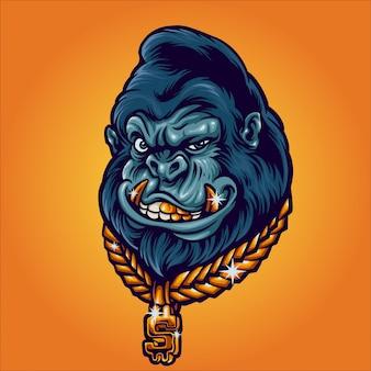 Rich gorilla illustration