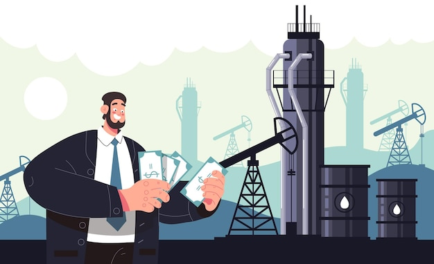 Rich man character count money oil industry production concept