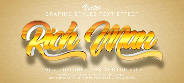 Rich man gold text style effect