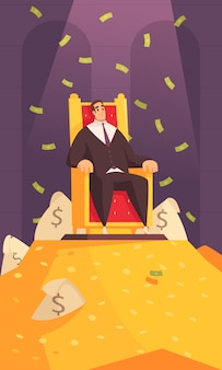 Rich man wealth symbol cartoon composition with millionaire on throne atop gold mount bathing in money