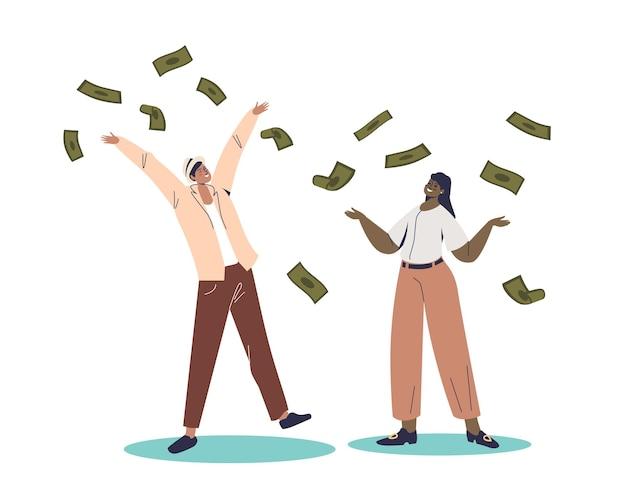Rich man and woman standing under money rain