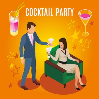 Rich people during cocktail party isometric composition on orange background with drinks and stars vector illustration