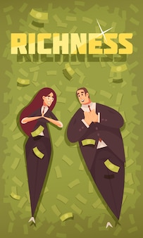 Rich people flat cartoon vertical banner with wealthy chic dressed couple in flying dollars background