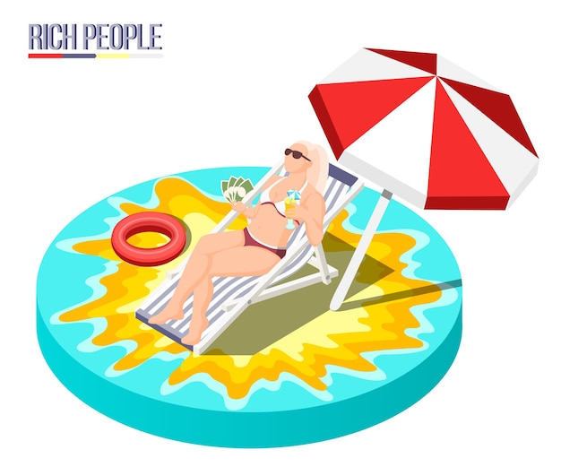 Rich people isometric composition with young woman lying in sun lounger