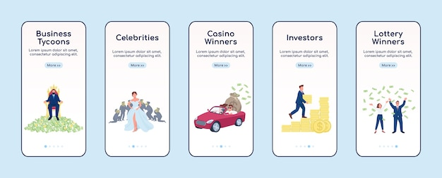 Rich people onboarding mobile app screen flat template. tycoons and lottery winners. walkthrough website steps with characters. ux, ui, gui smartphone cartoon interface, case prints set