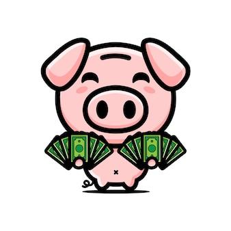 Rich pig mascot character design