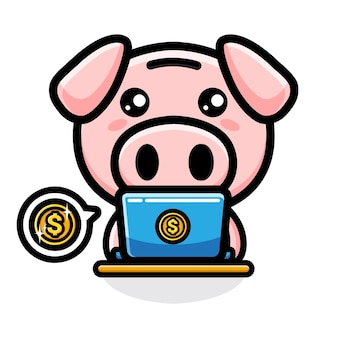 Rich pig mascot character design Premium Vector