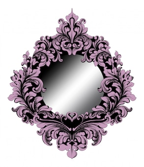 Rich purple baroque mirror frame
