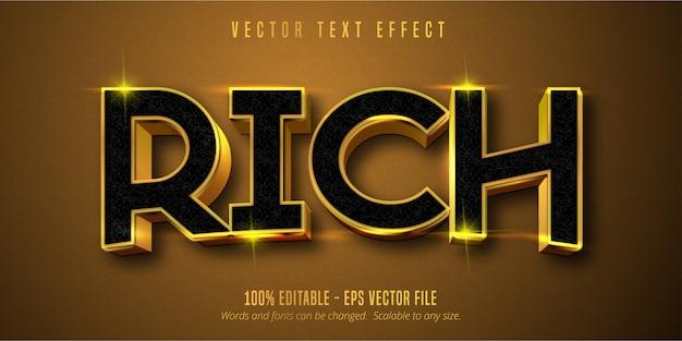 Богатый текст, эффект редактируемого текста в блестящем золотом стиле