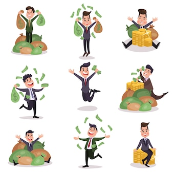 Rich wealthy happy millionaire characters enjoying their money colorful   illustrations